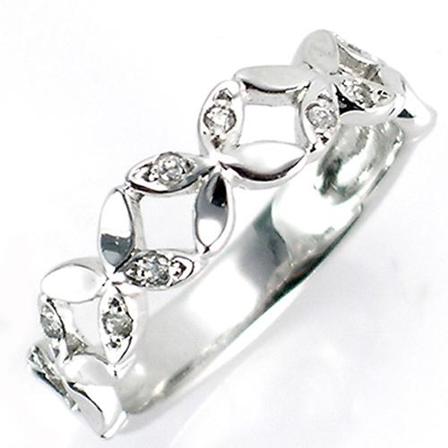 【送料無料】【新品】◎K10WG K10PG K10YG ダイヤフラワーバンドピンキーリング 10金