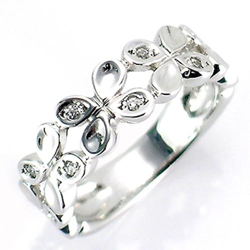 【送料無料】【新品】◎K18WG K18PG K18YG ダイヤフラワーバンドピンキーリング 18金