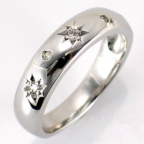 【送料無料】【新品】◎K18WG K18PG K18YG ダイヤ スタードッツデザインピンキーリング 星 18金