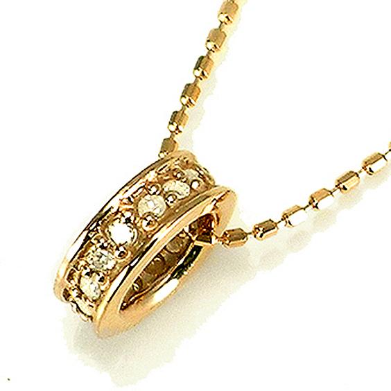 【送料無料】【新品】● K10 フル エタニティ ダイヤモンド ペンダント ネックレス リング D0.10 おしゃれ レディース 女性 かわいい おしゃれ