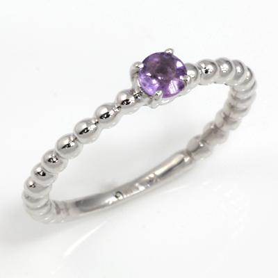 【送料無料】【新品】K10WG シンプルピンキーリング 指輪 アメジスト 10金 ファランジリング  おしゃれ レディース 女性 かわいい 可愛い オシャレ