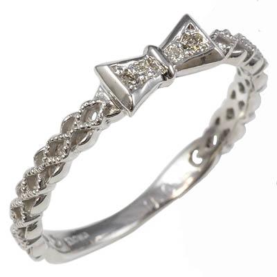 【送料無料】【新品】K10WG K10PG ダイヤリボンピンキーリング 指輪 10金 ファランジリング  おしゃれ レディース 女性 かわいい 可愛い オシャレ