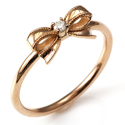 【送料無料】【新品】K18PG ダイヤリボンリング 指輪 18金 おしゃれ レディース 女性 かわいい 可愛い オシャレ