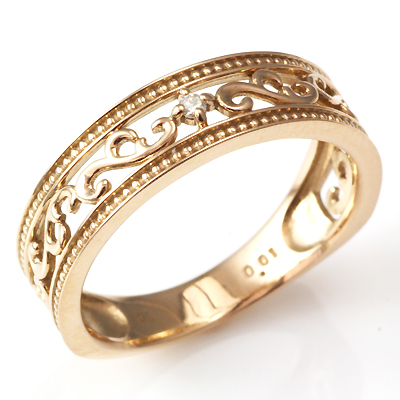 【送料無料】【新品】K10PG ダイヤモンド クラシカル リング 指輪 10金 おしゃれ レディース 女性 かわいい ピンクゴールド 透かし アクセサリー プレゼント ギフト 誕生日 バースデー