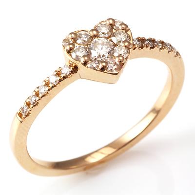 【送料無料】【新品】K10PG ダイヤハートリング 指輪 10金 おしゃれ レディース 女性 かわいい 可愛い オシャレ