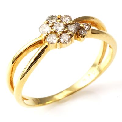 【送料無料】【新品】K10 K10PG ダイヤフラワーリング 指輪 10金 おしゃれ レディース 女性 かわいい 可愛い オシャレ
