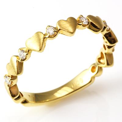 【送料無料】【新品】K18 K18PG ダイヤハートバンドピンキーリング 指輪 18金 ファランジリング  おしゃれ レディース 女性 かわいい 可愛い オシャレ