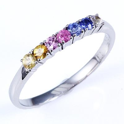 【送料無料】【新品】K10WG K10PG カラーサファイアアミュレットリング 指輪 10金 おしゃれ レディース 女性 かわいい 可愛い オシャレ