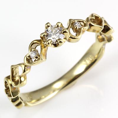 【送料無料】【新品】・ K10 ダイヤモンド ハート リング 指輪 10金 ゴールド レディース かわいい おしゃれ