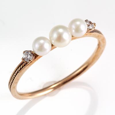 【送料無料】【新品】; K10PG リング 指輪 レディース 淡水パール キュービックジルコニア 10金 パール 真珠 華奢 シンプル かわいい おしゃれ シンプル