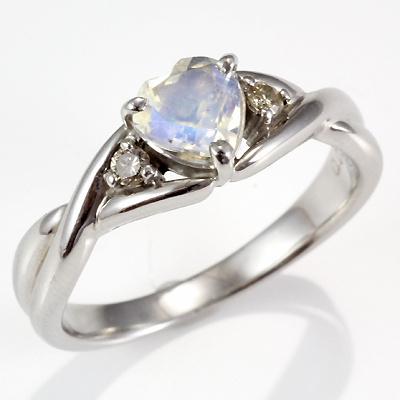 【送料無料】【新品】・ K10WG リング 指輪 ムーンストーン ダイヤモンド D0.06 10金 ホワイトゴールド ハート レディース かわいい おしゃれ