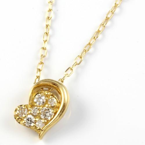 【送料無料】【新品】K18 ダイヤモンドペンダントネックレス D0.05 ハート 18金 おしゃれ レディース 女性 かわいい 可愛い オシャレ
