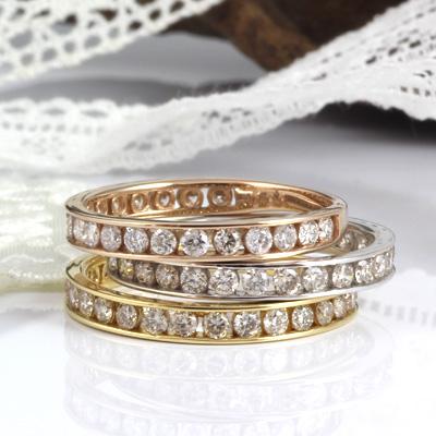 【送料無料】【新品】K18 ダイヤモンド ハーフエタニティリング 指輪 D0.5ct 18金 おしゃれ レディース 女性 かわいい 可愛い オシャレ