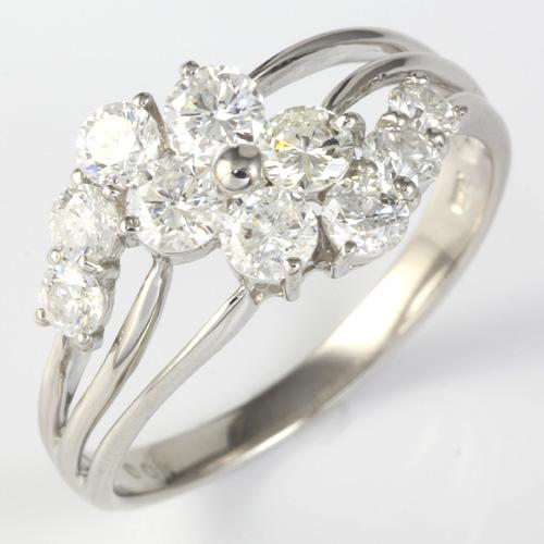 【送料無料】【新品】PT900 ダイヤモンドフラワーリング 指輪 D1.00 1ct プラチナ おしゃれ レディース 女性 かわいい 可愛い オシャレ