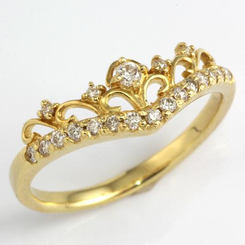 【送料無料】【新品】K18 ダイヤモンドティアラリング 指輪 D0.20 18金 おしゃれ レディース 女性 かわいい 可愛い オシャレ