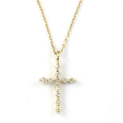 【送料無料】【新品】K10YG ダイヤモンドクロスネックレス D0.05ct 十字架 10金 おしゃれ レディース 女性 かわいい 可愛い オシャレ