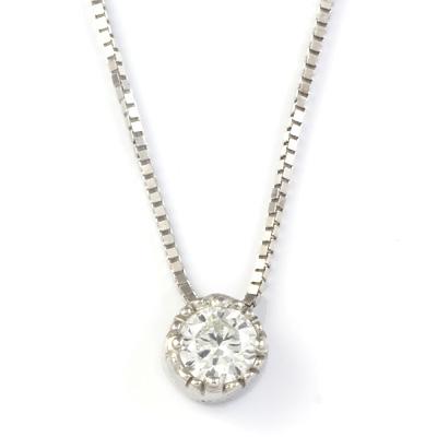 【送料無料】【新品】K10WG 一粒ダイヤモンドネックレス D0.1ct 10金 K18WG おしゃれ レディース 女性 かわいい 可愛い オシャレ