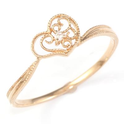 【送料無料】【新品】K10PG ダイヤモンドハートリング 指輪 D0.01ct 10金ピンクゴールド おしゃれ レディース 女性 かわいい 可愛い オシャレ