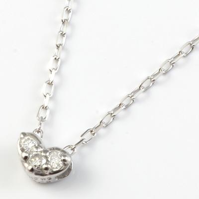 【新品】K10WG ダイヤモンドハートネックレス D0.02ct 10金 おしゃれ レディース 女性 かわいい 可愛い オシャレ