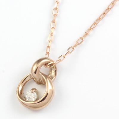 【送料無料】【新品】K10PG ダイヤモンドネックレス D0.01 10金ピンクゴールド おしゃれ レディース 女性 かわいい 可愛い オシャレ