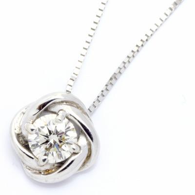 【送料無料】【新品】K18WG 一粒ダイヤモンドローズネックレス D0.20 18金 おしゃれ レディース 女性 かわいい 可愛い オシャレ