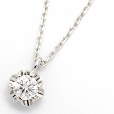 【送料無料】【新品】K18WG 一粒ダイヤモンドネックレス D0.10 18金 おしゃれ レディース 女性 かわいい 可愛い オシャレ