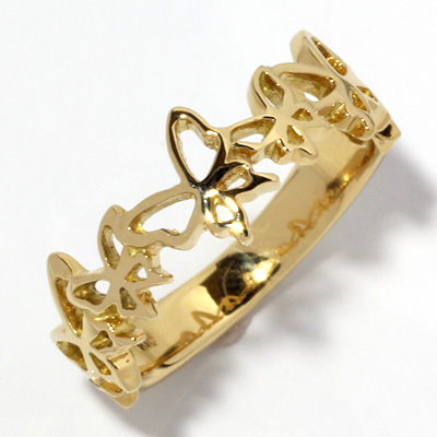 【送料無料】【新品】K18 バタフライピンキーリング 指輪 蝶 ファランジリング 18金 おしゃれ レディース 女性 かわいい 可愛い オシャレ