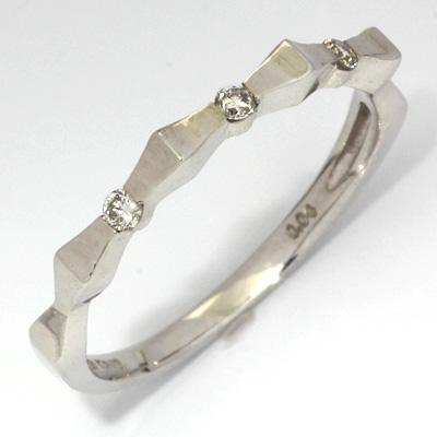 【送料無料】【新品】K18WG リボンピンキーリング 指輪 ダイヤモンド ファランジリング 18金 おしゃれ レディース 女性 かわいい 可愛い オシャレ