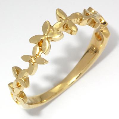 【送料無料】【新品】K18 フラワーピンキーリング 指輪 花 ファランジリング 18金 おしゃれ レディース 女性 かわいい 可愛い オシャレ