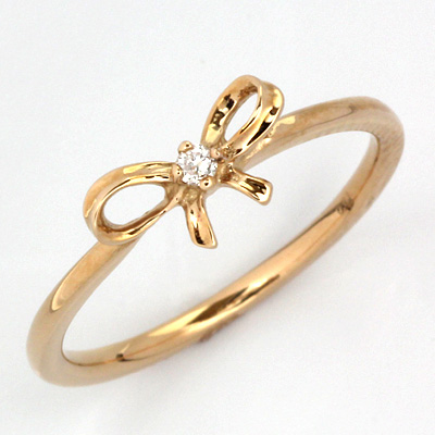 【送料無料】【新品】K18PG リボンピンキーリング 指輪 ダイヤモンド ファランジリング 18金 おしゃれ レディース 女性 かわいい 可愛い オシャレ