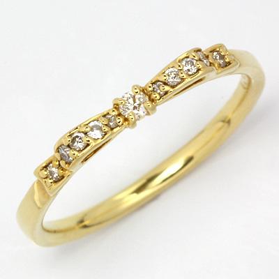 【送料無料】【新品】K18 ダイヤモンドリボンリング 指輪 18金 おしゃれ レディース 女性 かわいい 可愛い オシャレ