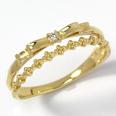 【ポイント10倍※要エントリ】【送料無料】【新品】K18 リボン&フラワーダブルリング 指輪 ダイヤモンド 18金 おしゃれ レディース 女性 かわいい 可愛い オシャレ