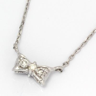 【送料無料】【新品】K10WG リバーシブルリボンネックレス ダイヤモンド サファイア 18金 おしゃれ レディース 女性 かわいい 可愛い オシャレ