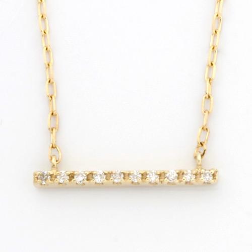 【送料無料】【新品】K10 ダイヤモンドバーネックレス(K18への変更可) D0.02 10金 おしゃれ レディース 女性 かわいい 可愛い オシャレ