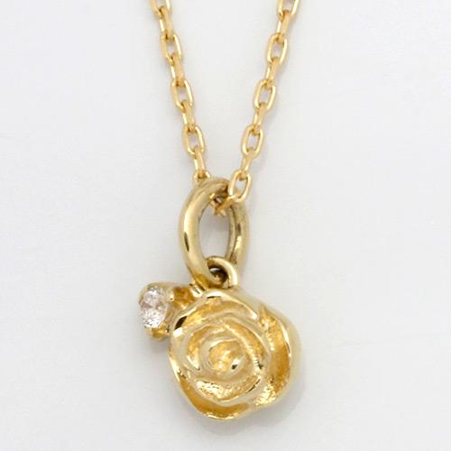【送料無料】【新品】K10 ダイヤモンドローズネックレス(K18への変更可) D0.01 バラ 薔薇 10金 おしゃれ レディース 女性 かわいい 可愛い オシャレ