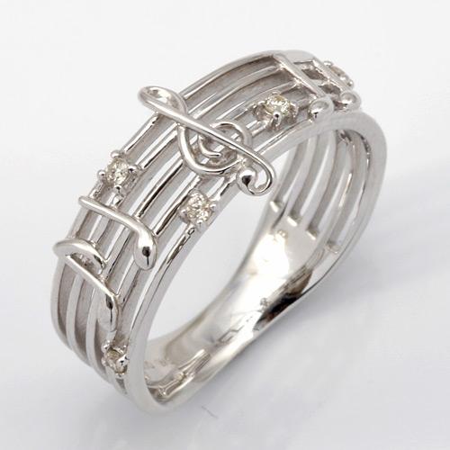 【送料無料】【新品】K10WG メロディダイヤリング 指輪 (K18WGへ変更可)ト音記号 音楽 D0.06 10金 18金 おしゃれ レディース 女性 かわいい 可愛い オシャレ