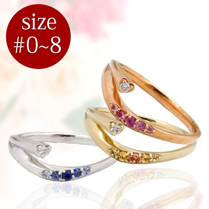 【新品】K10 サファイアハートピンキーリング 指輪 ダイヤモンド 10金 おしゃれ レディース 女性 かわいい 可愛い オシャレ