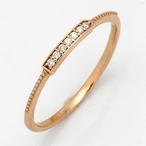 【送料無料】【新品】K10PG ダイヤストレートラインリング 指輪 (K18PGへ変更可)D0.03 10金 18金 おしゃれ レディース 女性 かわいい 可愛い オシャレ