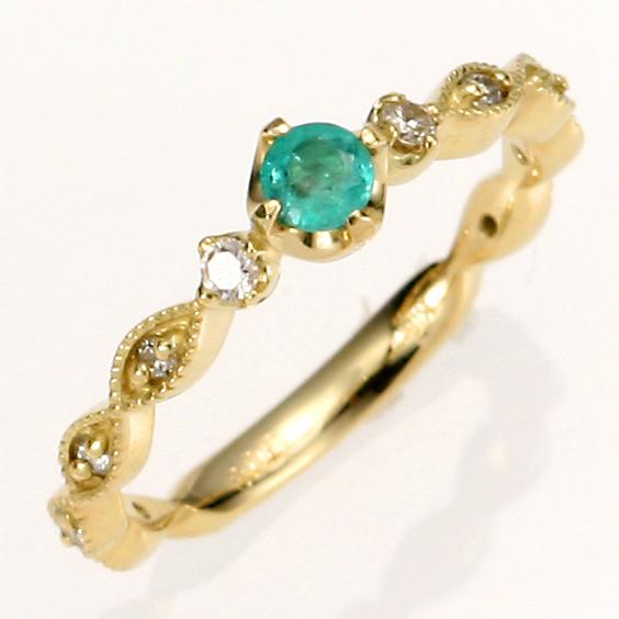 【送料無料】【新品】K18 エメラルドピンキーリング 指輪 18金 ファランジリング  おしゃれ レディース 女性 かわいい 可愛い オシャレ