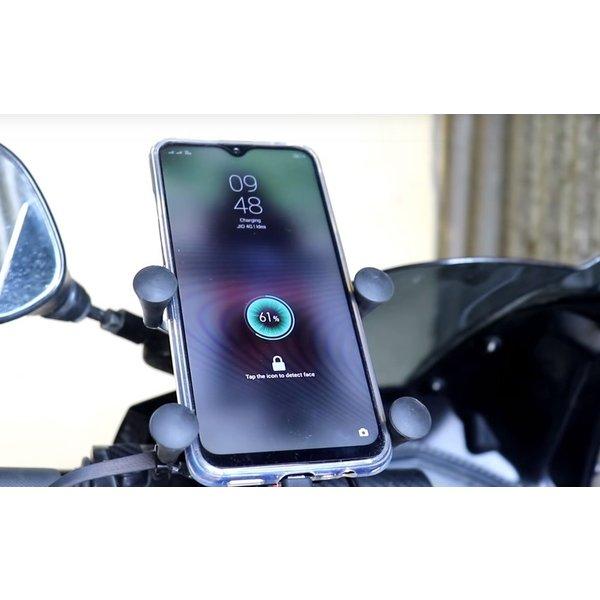 バイクや自転車にスマホをガッチリ固定し、さらに充電も可能! スマホホルダー バイク 充電 USB電源付き 固定力抜群 スイッチ付き 自転車 ハンドル取り付け 4~6.5インチ携帯に対応 付属のゴムで強力に固定