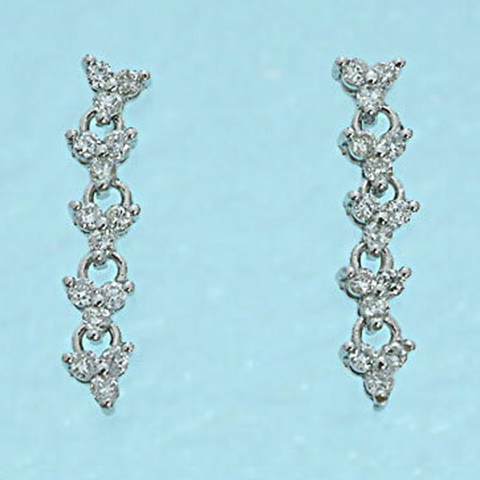 K18WG ダイヤモンド デザイン ピアス (ダウン 0.30)ロングダウンタイプです! ダイヤ ホワイトゴールド