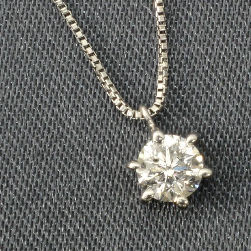 「送料無料」Pt ダイヤプチネックレス(0.312) 輝きの良いダイヤです!  ダイヤ ペンダント ネックレス プレゼント ギフトに
