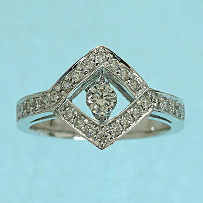 K18WG スウィング ダイヤモンド リング #2 (0.55) ホワイトゴールド ダイヤ 指輪