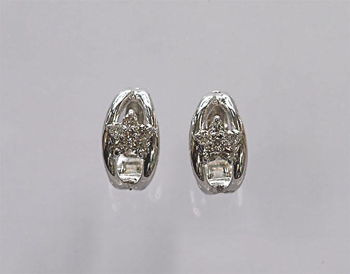 K14WG ダイヤモンド ピアリング ピアスみたいな イヤリング (0.16)繊細なデザイン! ホワイトゴールド ダイヤ