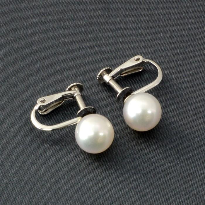 高品質 K14WG あこや真珠 イヤリング (7mm) あこや 本真珠 パール ホワイトゴールド