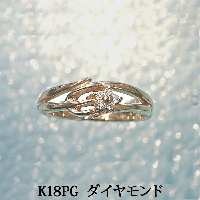 K18PG ダイヤモンド ピンキーリング (0.03) ピンクゴールド ダイヤ ピンキー リング 指輪 ファランジリング ミディリングとしても!