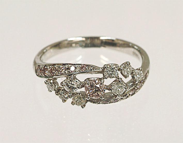 Pt900 ピンクダイヤリング (028-029) プラチナ ピンクダイヤ リング 指輪 ピンク ダイヤモンド