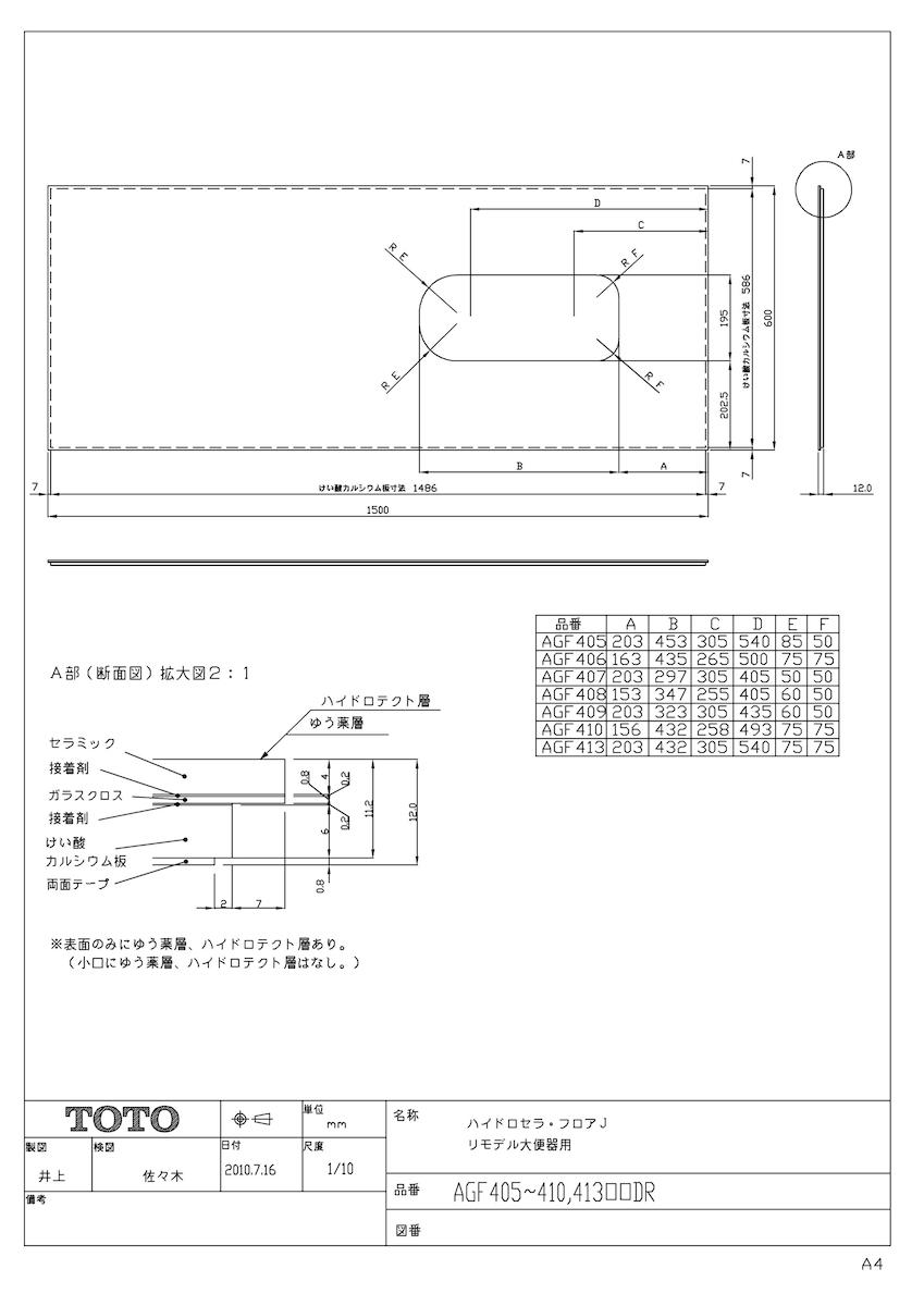 【AGF409#17RR】 《TKF》 TOTO フロアJ セラミックパネル 住宅トイレ用床材 ωγ0