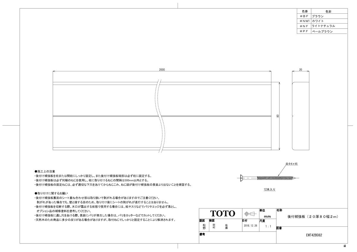 【EWT42B082 #NF】 《TKF》 TOTO 後付補強板(20厚80幅2m) フリースタイル手すり ωγ0