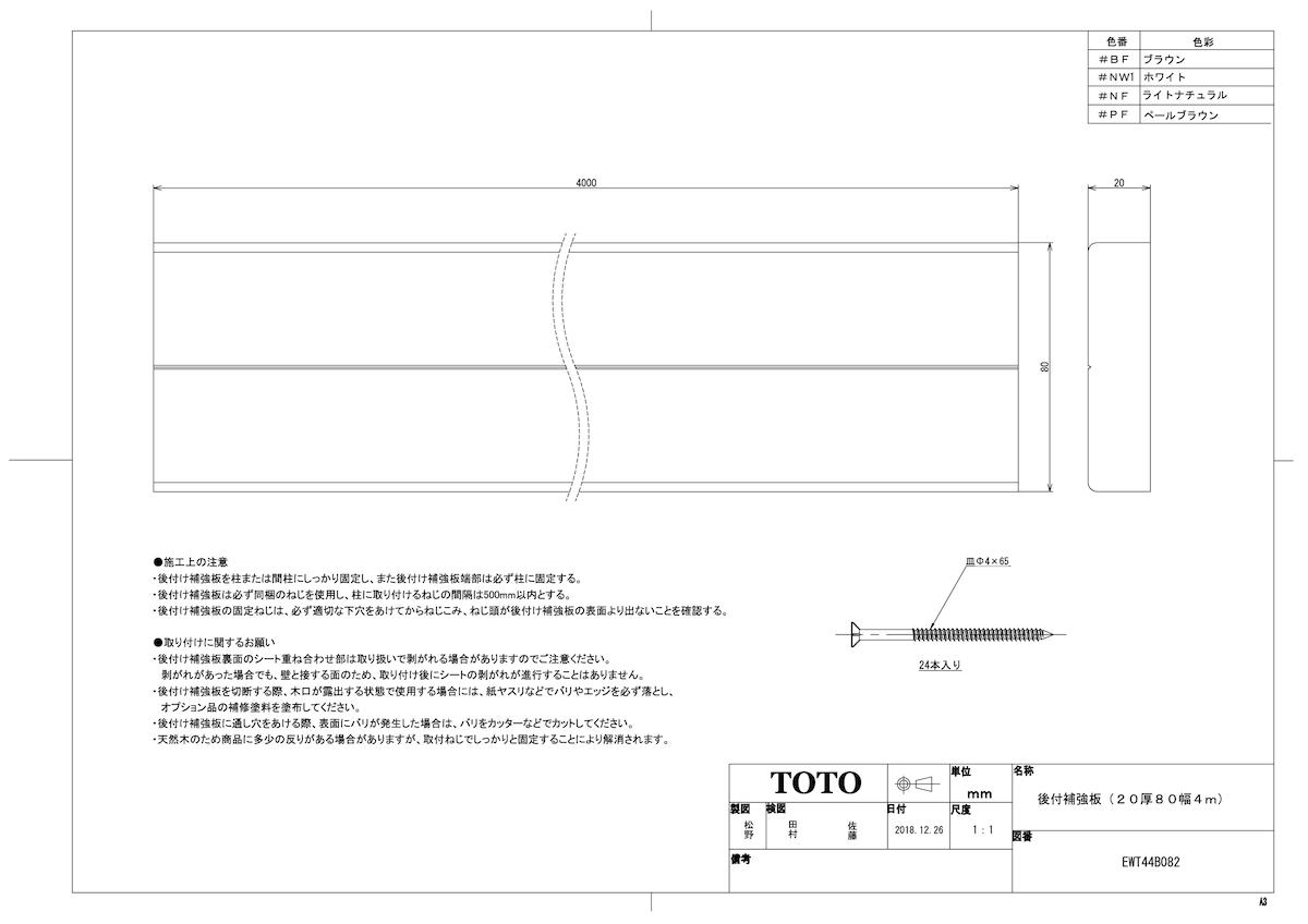 EWT44B082 #NF 《TKF》 TOTO 人気商品 ライトナチュラル 20厚80幅4m ωγ0 後付補強板 日本産